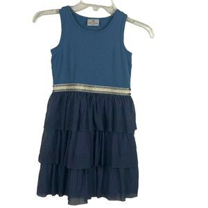 Hanna Andersson Girls Ruffled Tiered Dress Blue